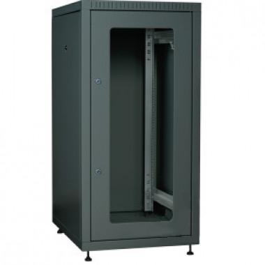 ITK LE05-18U66-GM Шкаф сетевой напольный LINEA E 18U 600х600мм стеклянная передняя дверь задняя металлическая черный