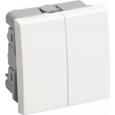 ВК4-22-00-П Выключатель проходной (переключатель) двухклавишный (на 2 модуля) ПРАЙМЕР белый IEK