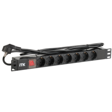 ITK PH12-7D1  PDU 7 розеток нем. стандарт, с LED выключателем,1U, шнур 2м вилка нем. стандарт, алюминиевый профиль
