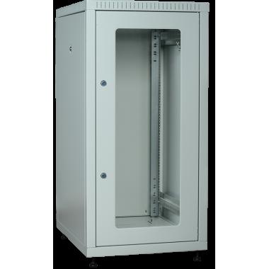 ITK LE35-18U66-GM Шкаф сетевой напольный LINEA E 18U 600х600мм стеклянная передняя дверь задняя металлическая серый