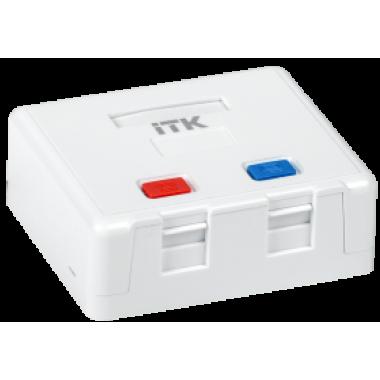 ITK CS2-022 Корпус настенной розетки для установки двух модулей Keystone Jack, белый