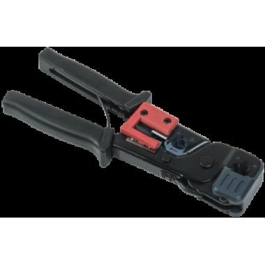 ITK Инструмент обжимной для RJ-45/12/11 без храпового механизма чёрно-красный
