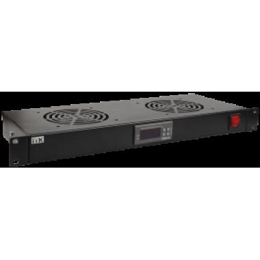 """ITK 19"""" вентиляторный модуль 1U 2 вентилятора с цифровым термостатом"""