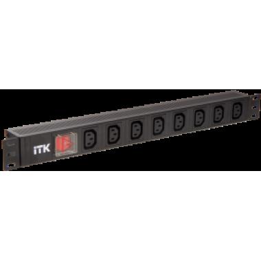 ITK PH12-7C133  PDU 7 розеток C13 с LED выключателем,1U, вх. С14, без шнура, алюминиевый профиль