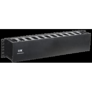 """ITK CO05-2PC 19"""" пластиковый кабельный органайзер с крышкой 2U глубина 60мм черный"""