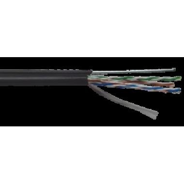 ITK LC3-C5E04-159 Витая пара U/UTP кат.5E 4х2х24AWG solid LDPE c металлическим тросом 1,2мм черный (305м)